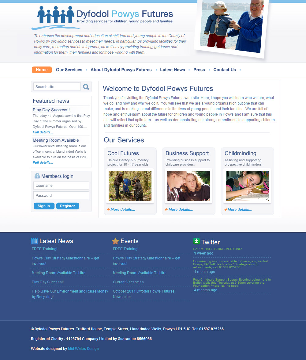 Dyfodol Powys Futures website
