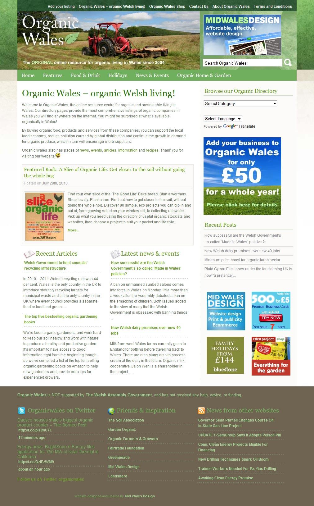 Organic Wales directory website