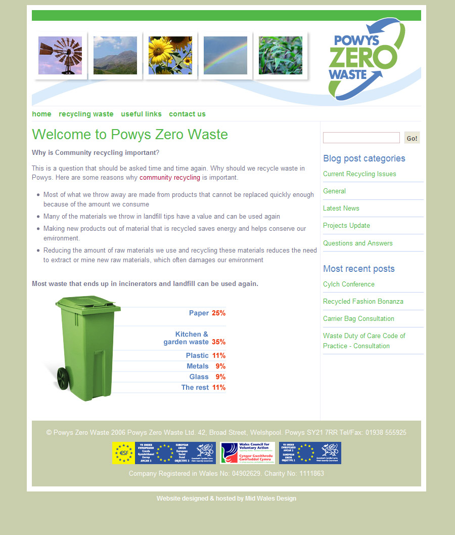 Powys Zero Waste website