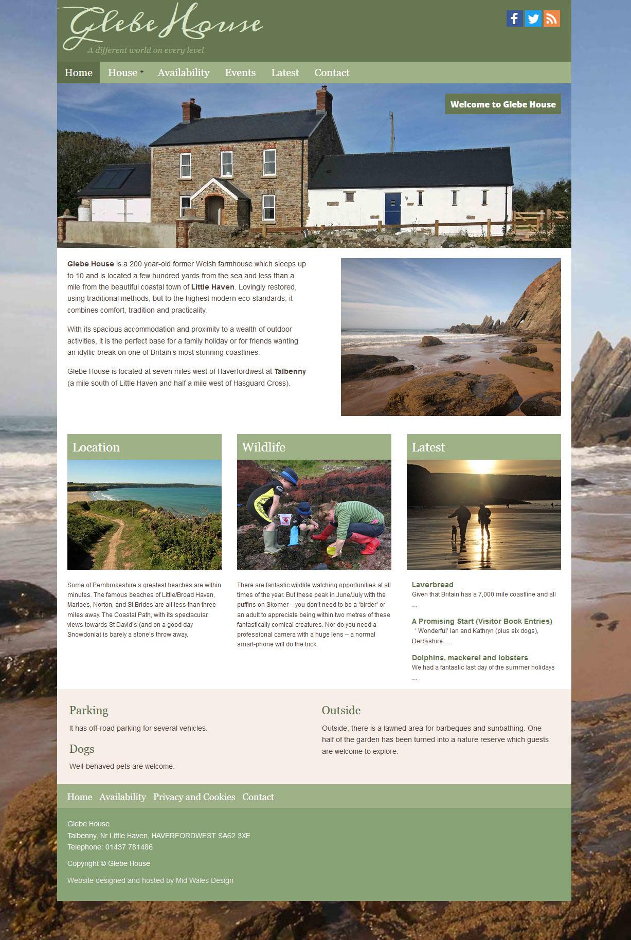 Glebe House holiday cottage website
