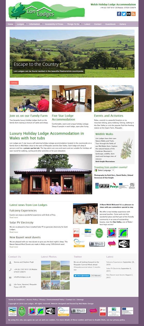 lon lodges Powys tourism website