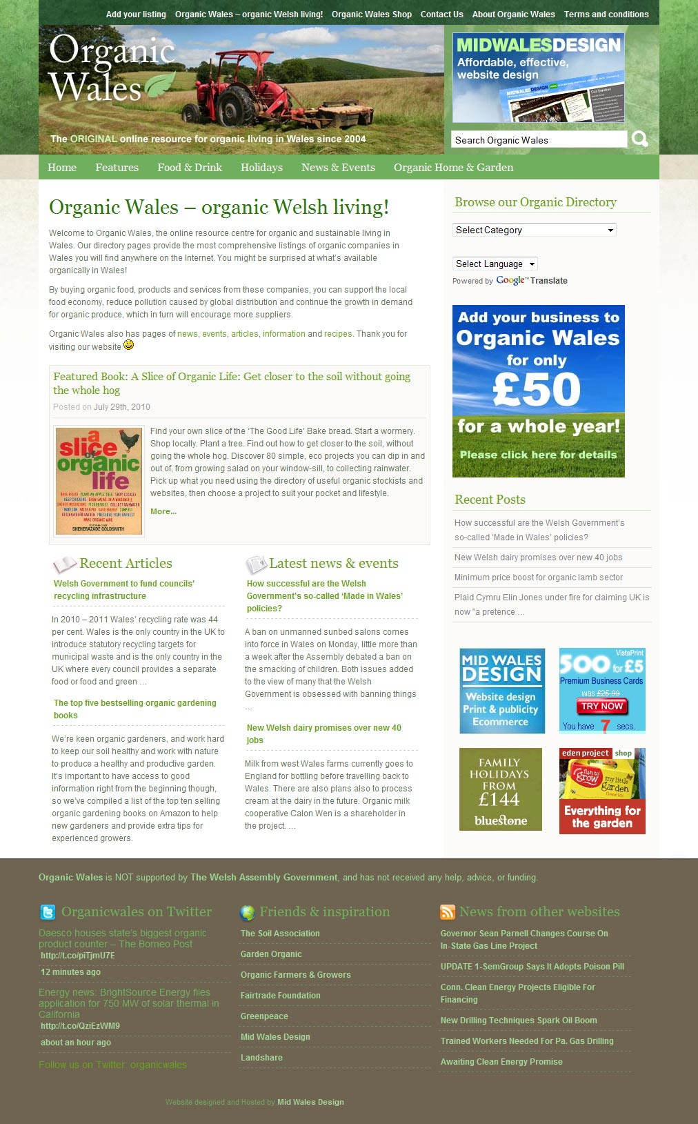 Organic Wales directory website