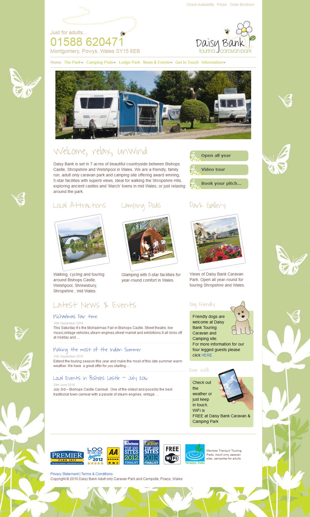 Shropshire website design Daisy Bank Campsite
