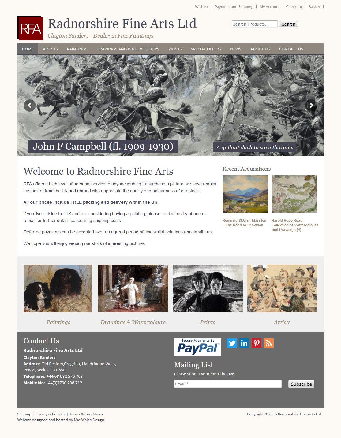 Radnorshire Fine Arts eCommerce website