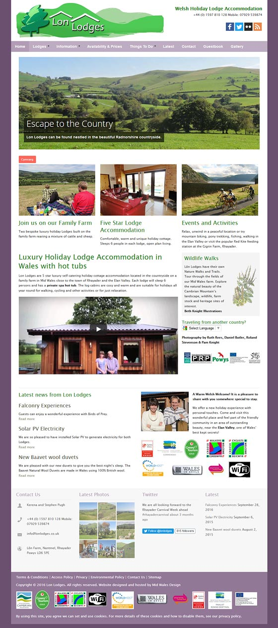 lon lodges Powys tourism website